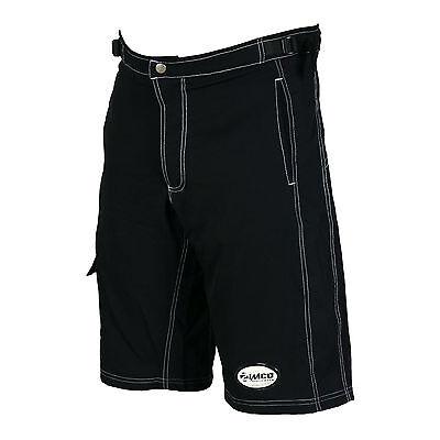 Zimco Ultra Comfort MTB Bike Baggy Shorts Lycra Padded Liner Blk White Seams