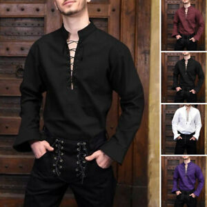 Mens Tops Male Shirts Crew Neck Medieval Tops Shirts Rennaissance Lace Up