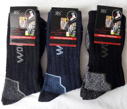 3 Paire Stable Chaussettes De Travail Intérieur éponge bordure de confort noir gris bleu 39-46