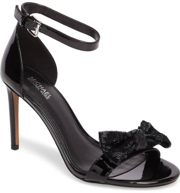 b8491cec4e Michael Kors Paris Sandal Black Patent Heel Open Toe Sequin Bow Women's  Shoes 9m