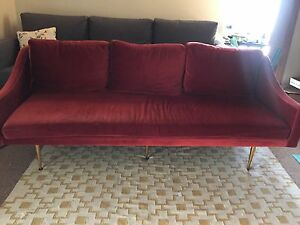 Details about Mid-Century Red Velvet Sofa Couch with Gold Legs Modern 3  seater