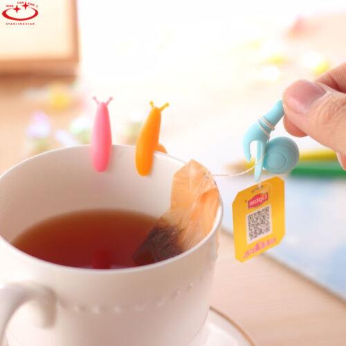 Cute Snail Shape Silicone Tea Bag Holder Cup Mug Candy Colors Gift Set 10pcs New