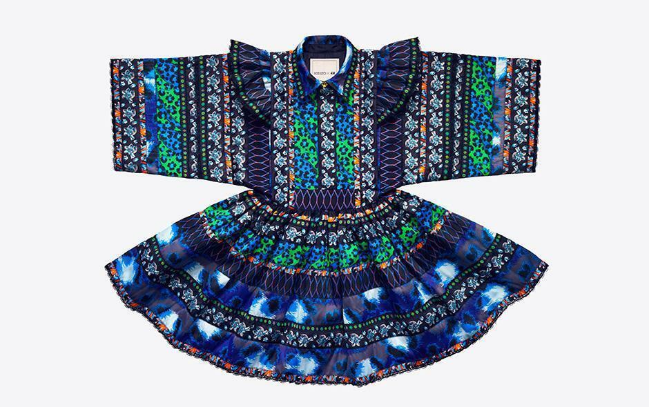 KENZO X H&M  Estampado Jacquard de varias capas Floral Vestido Volantes XS Mini Azul  alta calidad