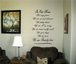 Vinyl-Wall-Art-Words-Decals-Custom-Stickers-Love-Family-In-our-home-We-say-Grace