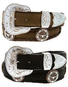 "Longhorn Barbwire - Western Copper Genuine Leather Jean Belt, 1-1/2"" Wide"