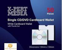50 CD DVD CARD BOARD CARD THUMB CUT SLEEVE WALLET MAILER CASE STORAGE BOX FIRST
