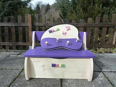 SET Kinderbank Kindersitzbank mit dazu passender Garderobe mit Wunschnamen