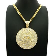 "NEW ICED OUT EUPHANASIA PENDANT & 30"" BOX CUBAN CHAIN HIP HOP NECKLACE - RC2356G"