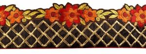 Vintage-Border-Antique-Handmade-Embroidered-1YD-Indian-Trim-Brown-Ribbon-Lace