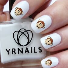 Nail WRAPS Nail Art Water Transfers Decals - Colour Monkey Face - S464