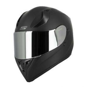 Casque-Moto-Integral-S441-VENGE-Noir-Mat-Visiere-Chrome-clair-ecran-solaire