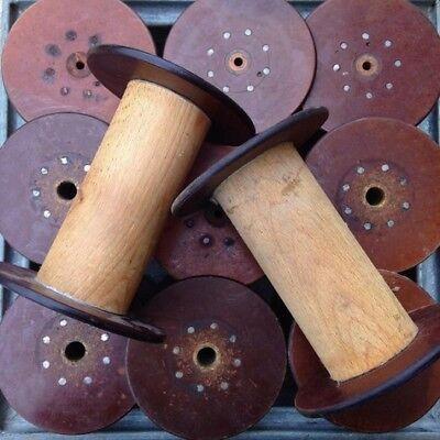 Grosse bobine ancienne filature de soie bois et bakelite