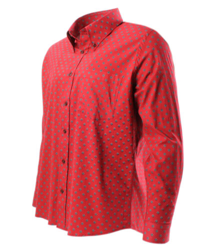 Tootal Motif Print Shirt with Button Down Collar in Red