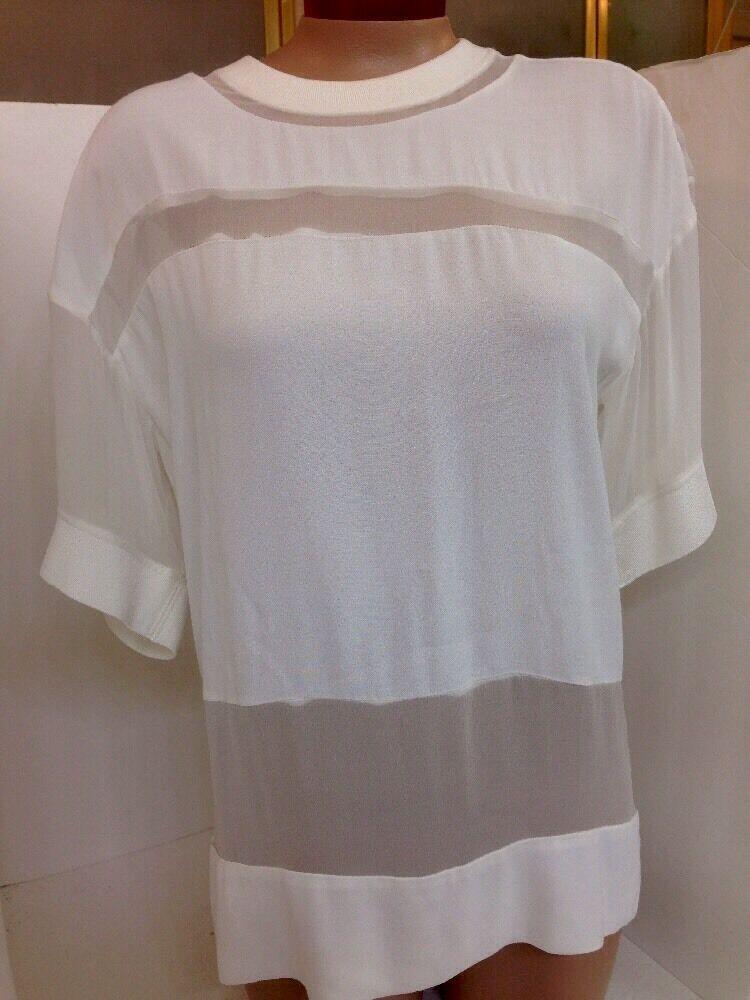 Iro Blouse Weiß Sheer Panels Knit Collar And Trim Größe 34 NEW
