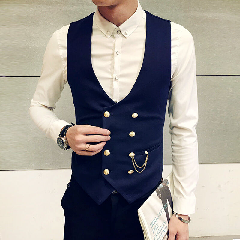 Formal Waistcoat Vest Double breasted Slim Fit Chain Business Dress Formal Suit