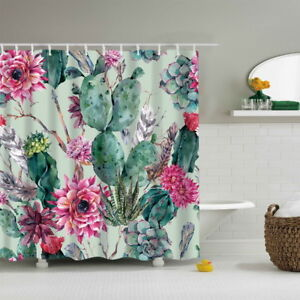 hot shower curtain pineapple printed cactus textile with. Black Bedroom Furniture Sets. Home Design Ideas