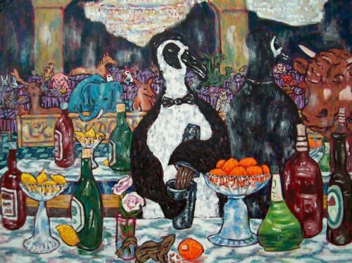 bar tending bartender Penguin art 8x10 PRINT poster gift modern folk JSCHMETZ