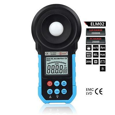 ELM02 200,000Lux Digital Meter Light Luxmeter Meters Luminometer Photometer