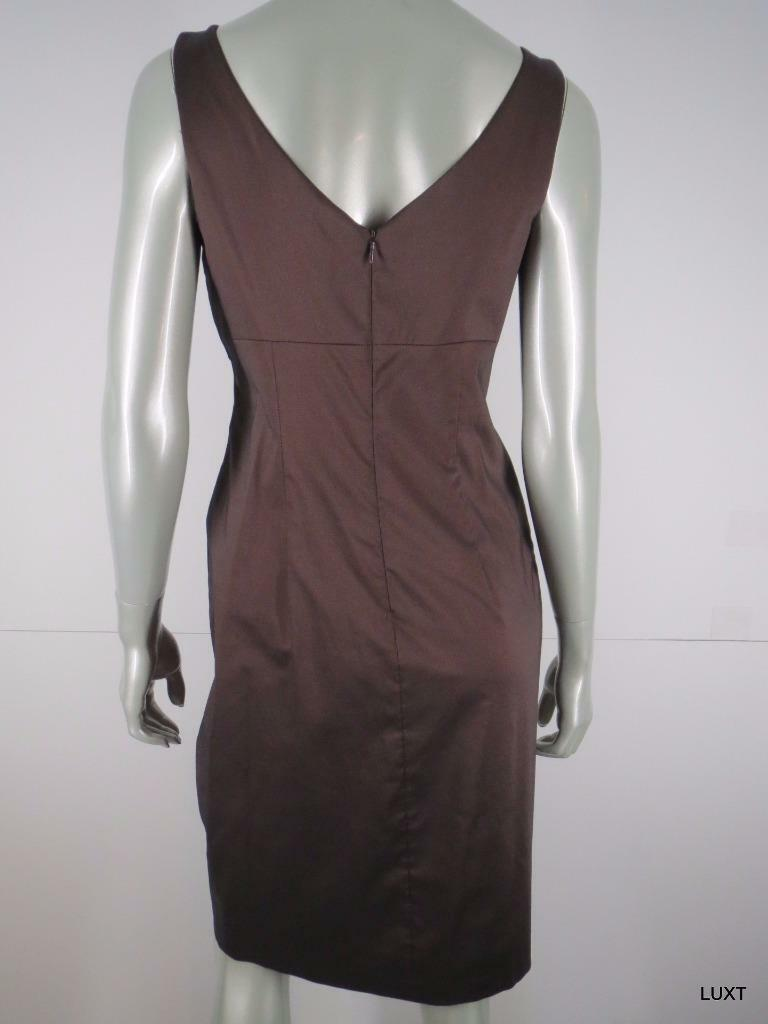 David Meister Dress Party Evening Gown Size 6 6 6 Brown Satin Beaded Jeweled Sheath d99bce