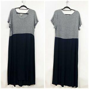 J-Jill-XL-Tall-Womens-Gray-Knit-Black-Long-Shift-Dress