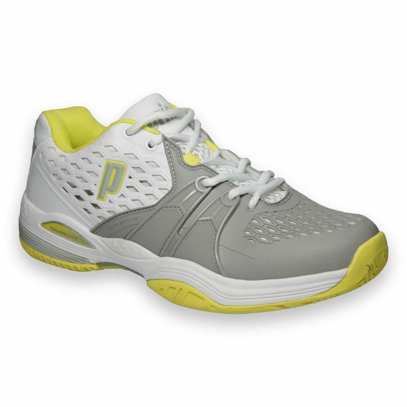 NOS WOMEN'S PRINCE WARRIOR (135  WHITE GREY CITRON) TENNIS SHOES. 8P432-135