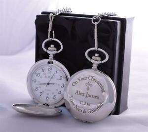LASER-Engraved-CHRISTENING-Design-Pocket-Watch-Silk-Gift-Box-For-Godson-Baptism