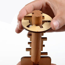 Wooden Unlock Puzzle Key Classical Funny Lock Toys Intellectual Educational N7Q2
