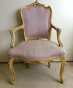 Image Is Loading Antique French Open Armchair Louis XV Style