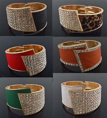 Fashion Jewelry Solid Leather Crystal Wristband Women's Bracelet Bangle Cuff New