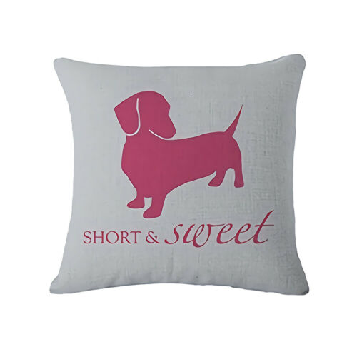 Lovely Dachshund Dog Paw Letter Invisible Zipper Throw Pillow Case Cushion Cover