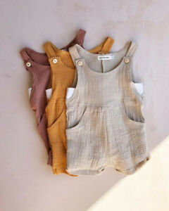 AU-Toddler-Baby-Boy-Girl-Clothes-Romper-Cotton-linen-Overalls-Jumpsuit-Ouftit