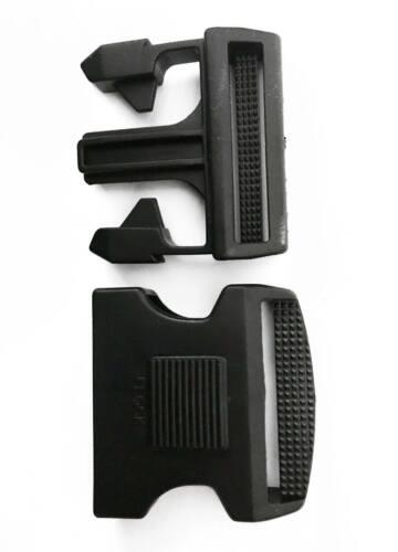 2 Hebillas completas liberación con seguro 50 mm negra equipo táctico vigilancia
