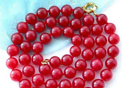 8mm AAAA nature red JADE beads necklace 36''