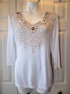 Womens-Embellished-beads-Tribal-Extensible-Stretch-Top-Shirt-Women-039-s-Size-Large