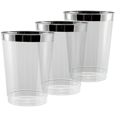 300 x 10oz Clear Tumblers//Glasses in Strong Disposable Plastic Shiny Silver Rim