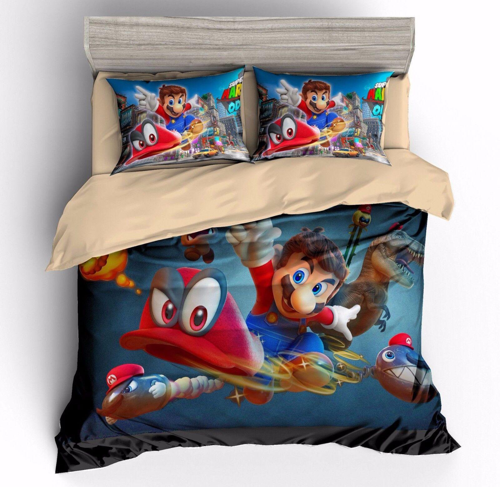 Super Mario Odyssey Kids Bedding Set Duvet Cover Sets Zip Quilt Cover Pillowcase