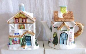 Teapot-amp-Tea-Caddy-Set-Christmas-Cottage-Design-Porcelain-Houston-Harvest
