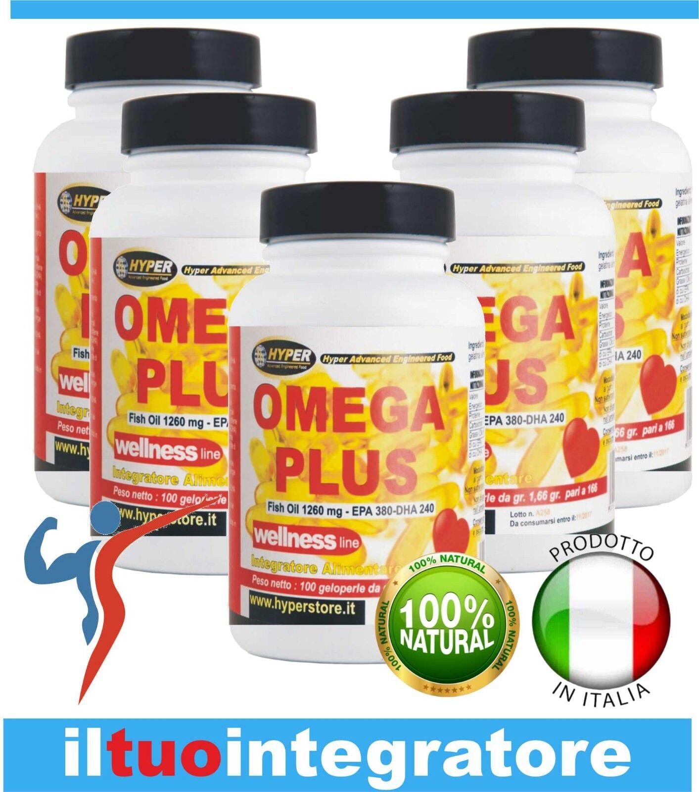 OMEGA 3 Olio Olio 3 di Pesce ad Alta Concentrazione di EPA DHA 5 BOX 100 Perle 1260mg fe4dbb