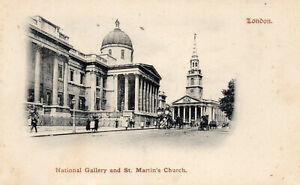 LONDON-National-Gallery-amp-St-Martin-039-s-Church-1901-Original-Postcard-96L