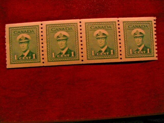 Canada 1948 #278 1c King George VI War Issue strip 4 Mint VF Hinged Perf 9 1/2