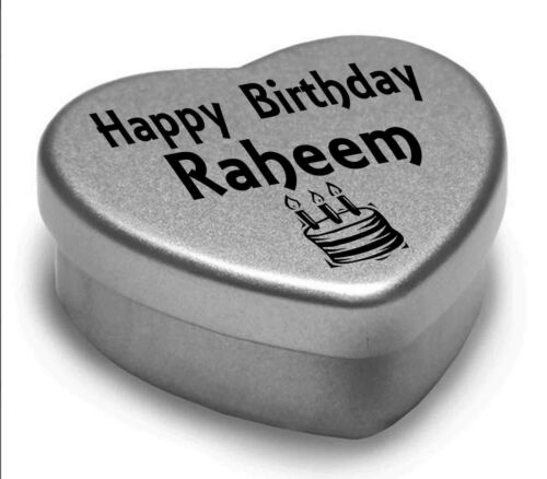 Happy Birthday Raheem Mini Heart Tin Gift Present For Raheem WIth Chocolates