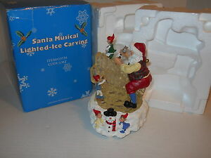 10-034-Santa-Musical-Lighted-Ice-Carving-20729-w-Orig-Box-Great-Condition-Nice