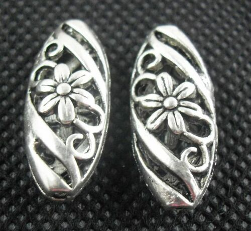 30Pcs Tibetan Silver Hollow Flower Spacer Beads