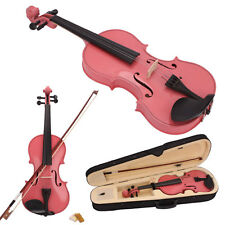 New Acoustic Violin 1/2 Size Pink + Case+ Bow + Rosin for 9-10 Years Old Kids