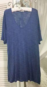 NEW-Plus-Size-2X-1X-Blue-V-Neck-Tunic-Blouse-Shirt-Top