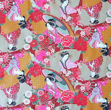 Japanese  Fabric 100% Cotton Kimono Ukiyoe Lady Maroon Per Half Metre 50cm TG11