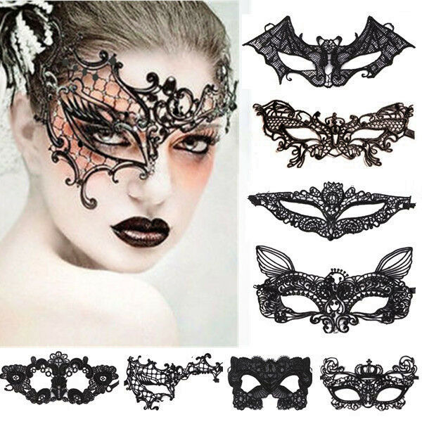 New Black/White Fabric Venetian Masquerade Eye Mask Halloween Lace Fancy Dress