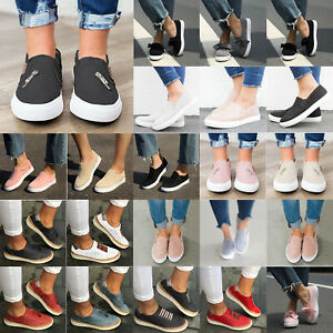 Womens-Flat-Loafers-Pumps-Ladies-Casual-Slip-On-Sneakers-Trainers-Shoes-Size-US