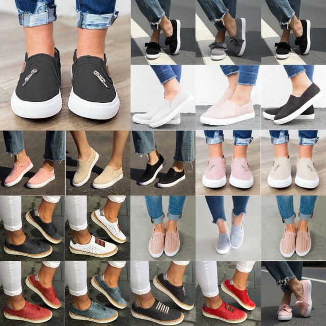 Damen Flache Slip On Schlupf Loafers Schuhe Halbschuhe Sneaker Turnschuhe Sport