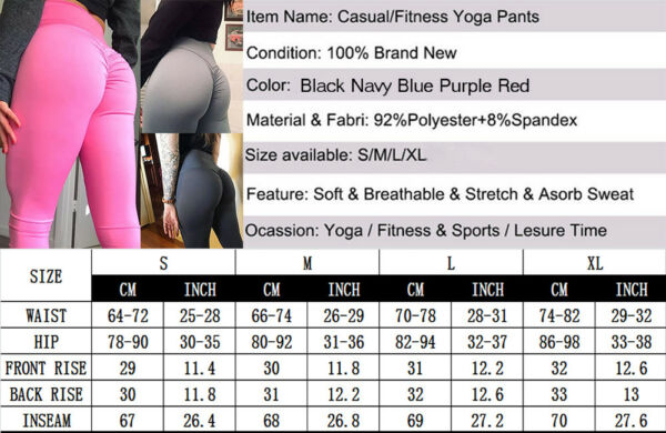 Frauen Gym Fitness Yoga Hosen Push Up Leggings Sports Stretch Sporthose Leggins